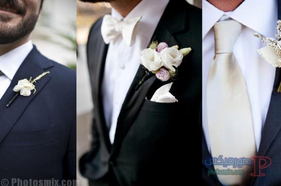 3-wedding-day-flower صور بدلة رجالي للعريس 2018، أحدث ستايل بدل كلاسيك، بدل سوداء 2018، بدلة العريس