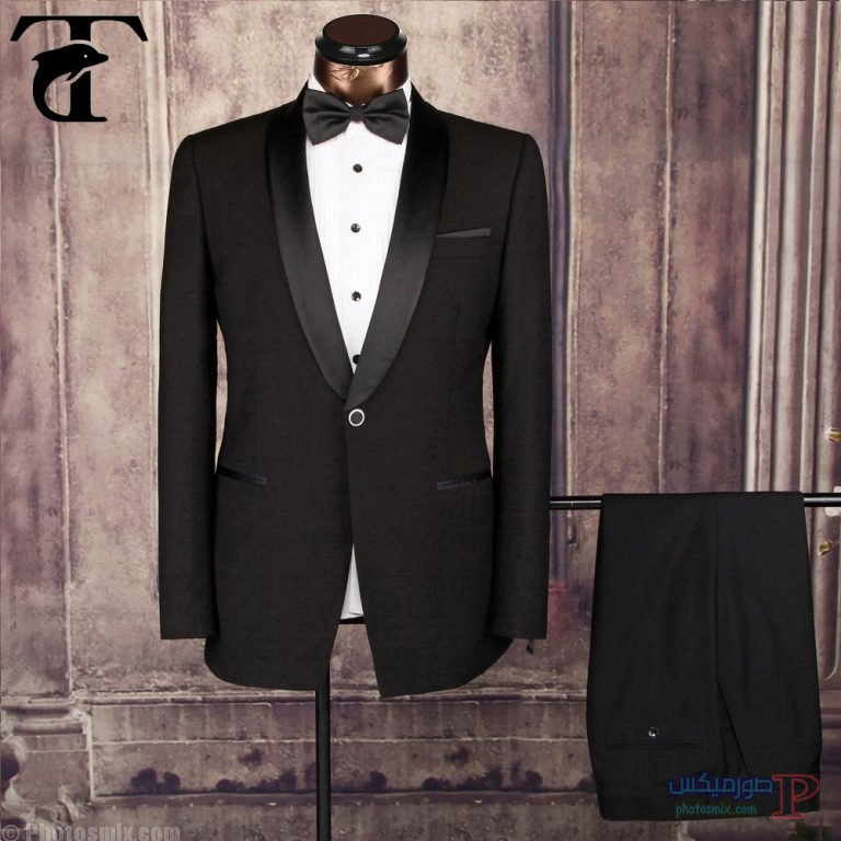 Anti-Wrinkle-2pcs-fomal-mens-groom-black صور بدلة رجالي للعريس 2018، أحدث ستايل بدل كلاسيك، بدل سوداء 2018، بدلة العريس