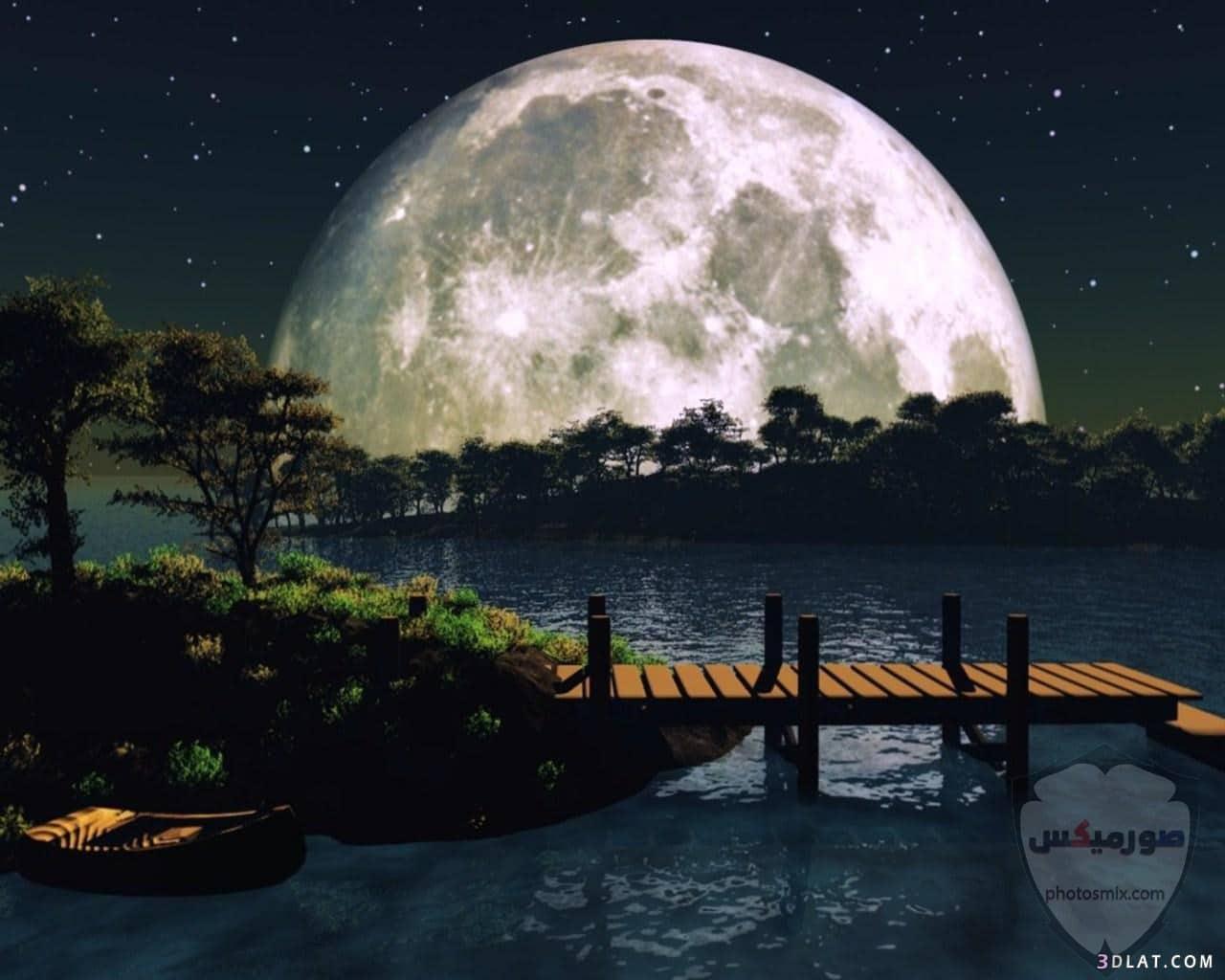 صور القمر العملاق رمزيات عن القمر العملاق صور قمر وسط النجوم 7